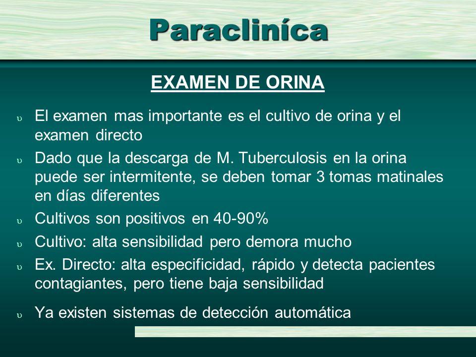 Paracliníca u El examen mas importante es el cultivo de orina y el examen directo u Dado que la descarga de M. Tuberculosis en la orina puede ser inte