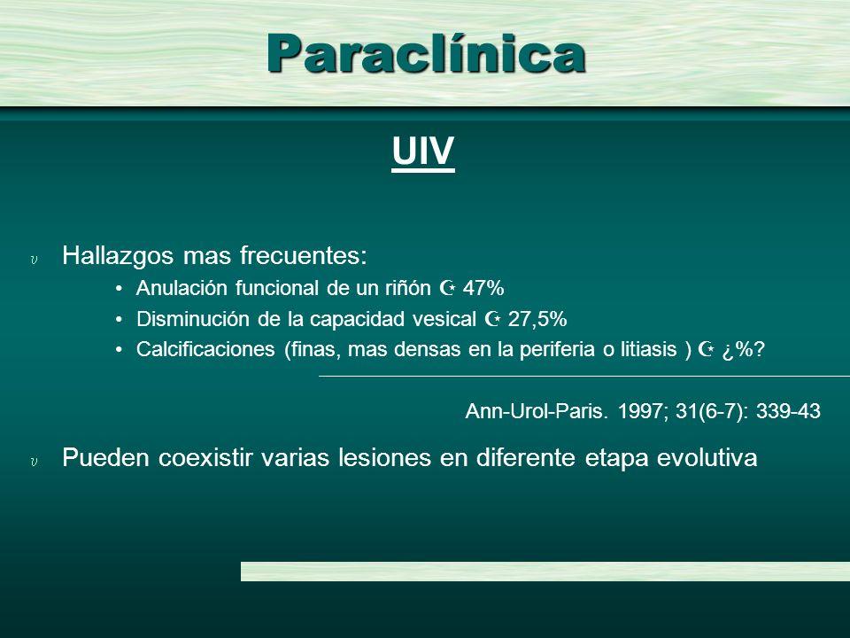 Paraclínica u Hallazgos mas frecuentes: Anulación funcional de un riñón 47% Disminución de la capacidad vesical 27,5% Calcificaciones (finas, mas dens