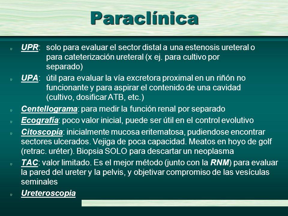Paraclínica u UPR: solo para evaluar el sector distal a una estenosis ureteral o para cateterización ureteral (x ej. para cultivo por separado) u UPA: