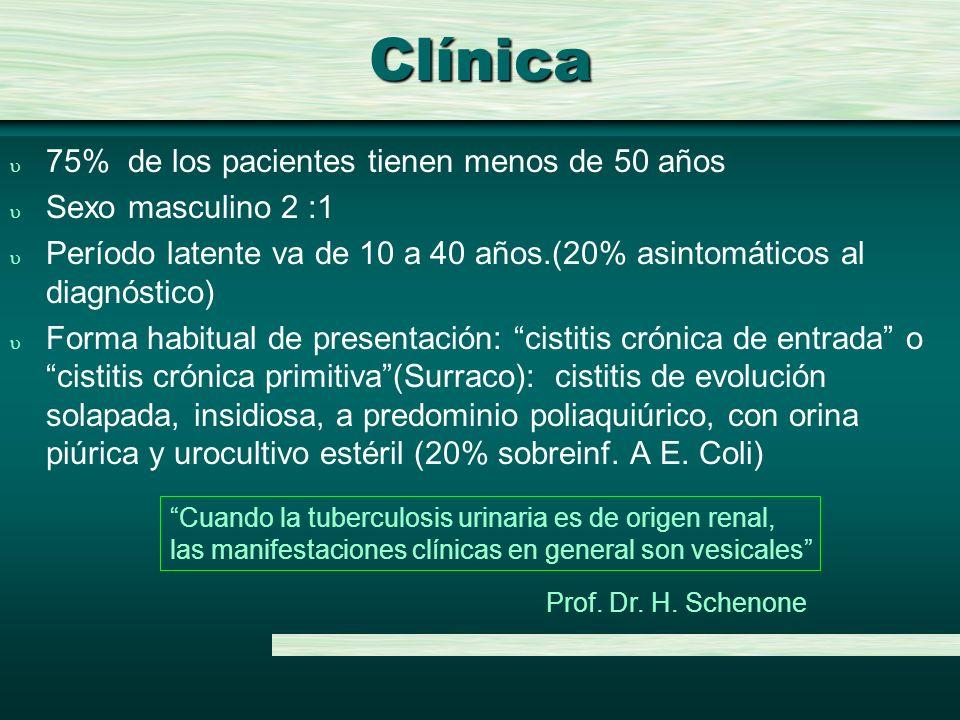 Clínica u 75% de los pacientes tienen menos de 50 años u Sexo masculino 2 :1 u Período latente va de 10 a 40 años.(20% asintomáticos al diagnóstico) u