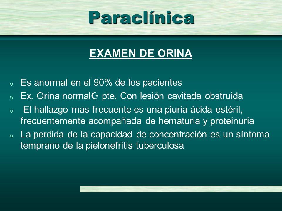 Paraclínica u Es anormal en el 90% de los pacientes u Ex. Orina normal pte. Con lesión cavitada obstruida u El hallazgo mas frecuente es una piuria ác