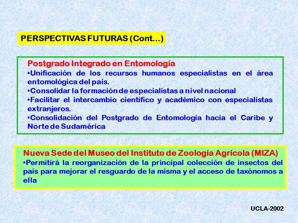 PERSPECTIVAS FUTURAS (Cont…) Postgrado Integrado en Entomología Unificación de los recursos humanos especialistas en el área entomológica del país. Co