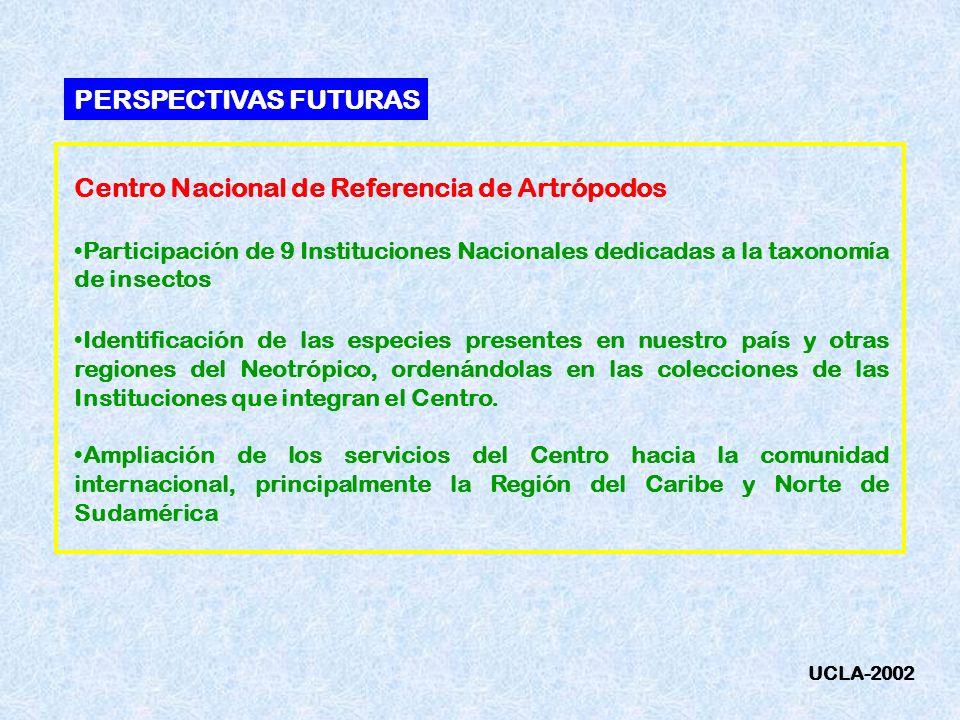 Centro Nacional de Referencia de Artrópodos Participación de 9 Instituciones Nacionales dedicadas a la taxonomía de insectos Identificación de las esp