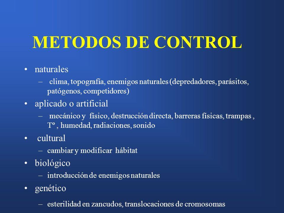 METODOS DE CONTROL naturales – clima, topografía, enemigos naturales (depredadores, parásitos, patógenos, competidores) aplicado o artificial – mecáni
