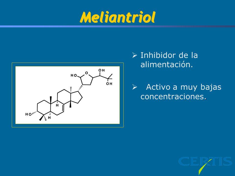 Meliantriol Inhibidor de la alimentación.. Activo a muy bajas concentraciones.