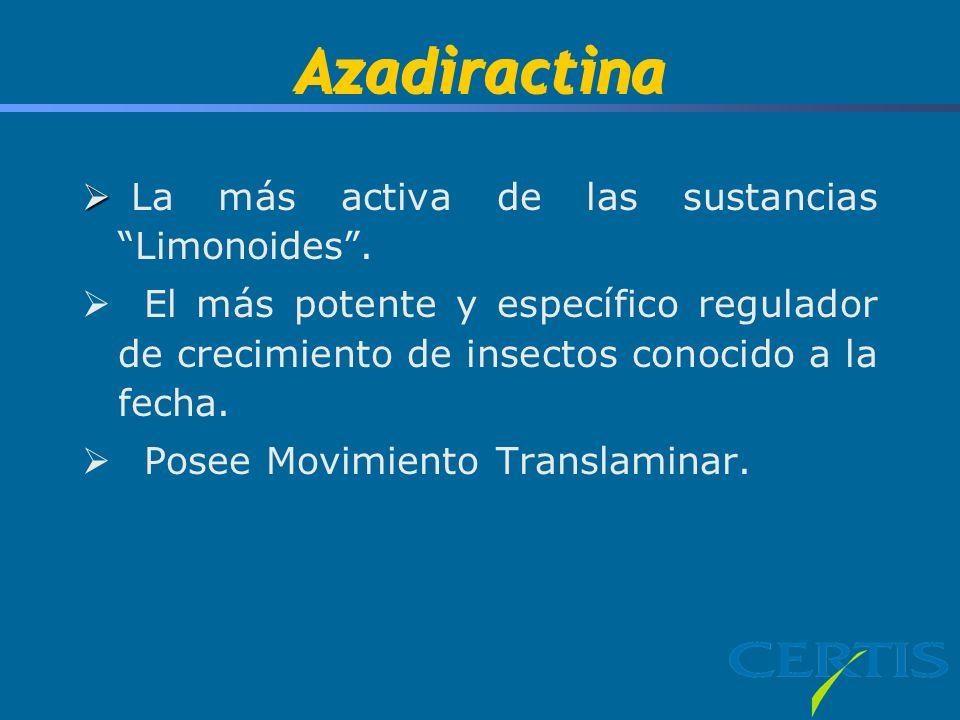Azadiractina La más activa de las sustancias Limonoides. El más potente y específico regulador de crecimiento de insectos conocido a la fecha. Posee M