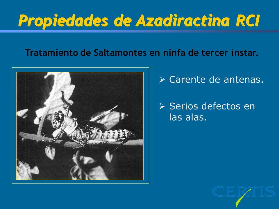 Propiedades de Azadiractina RCI Tratamiento de Saltamontes en ninfa de tercer instar. Carente de antenas. Serios defectos en las alas.