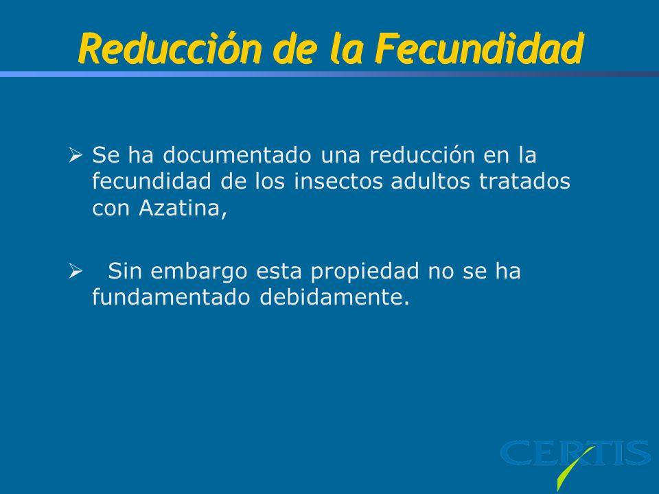 Reducción de la Fecundidad Se ha documentado una reducción en la fecundidad de los insectos adultos tratados con Azatina, Sin embargo esta propiedad n