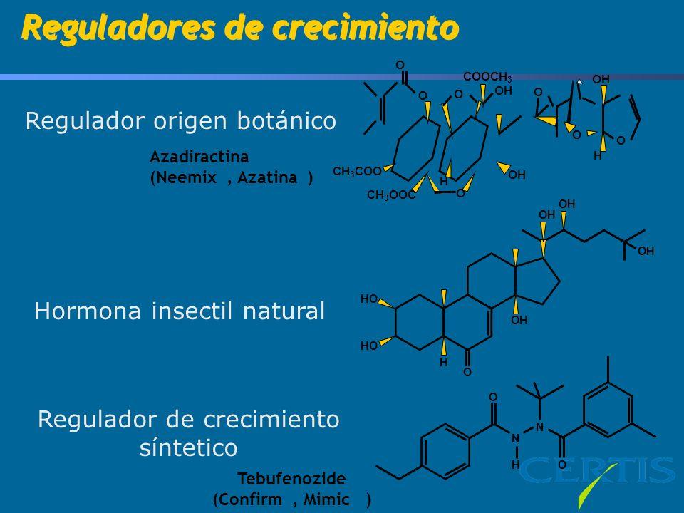 Azadiractina (Neemix, Azatina ) OH O CH 3 COO CH 3 OOC O H O COOCH 3 OH O O O O H HO O H OH N N HO O Tebufenozide (Confirm, Mimic ) Reguladores de crecimiento Regulador origen botánico Hormona insectil natural Regulador de crecimiento síntetico
