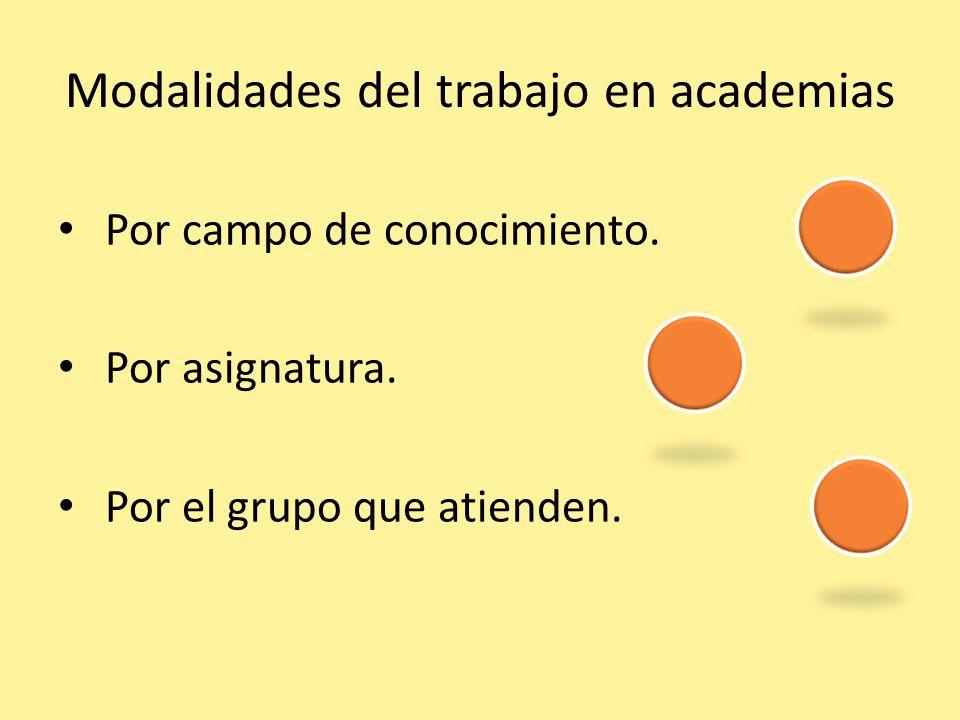 Modalidades del trabajo en academias Por campo de conocimiento. Por asignatura. Por el grupo que atienden.