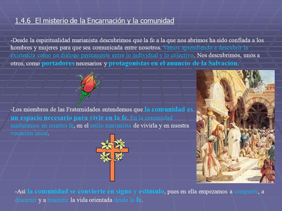 1.4.6 El misterio de la Encarnación y la comunidad -Desde la espiritualidad marianista descubrimos que la fe a la que nos abrimos ha sido confiada a l