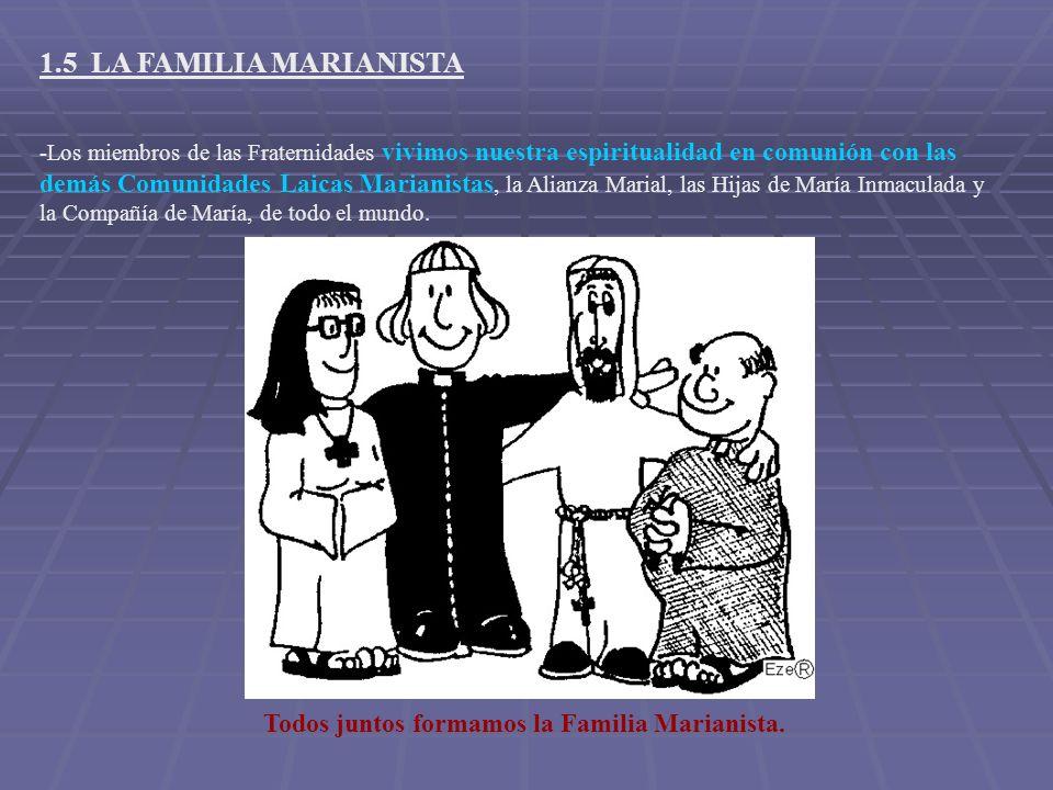 -Los miembros de las Fraternidades vivimos nuestra espiritualidad en comunión con las demás Comunidades Laicas Marianistas, la Alianza Marial, las Hij