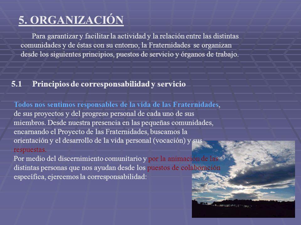 5. ORGANIZACIÓN Para garantizar y facilitar la actividad y la relación entre las distintas comunidades y de éstas con su entorno, la Fraternidades se