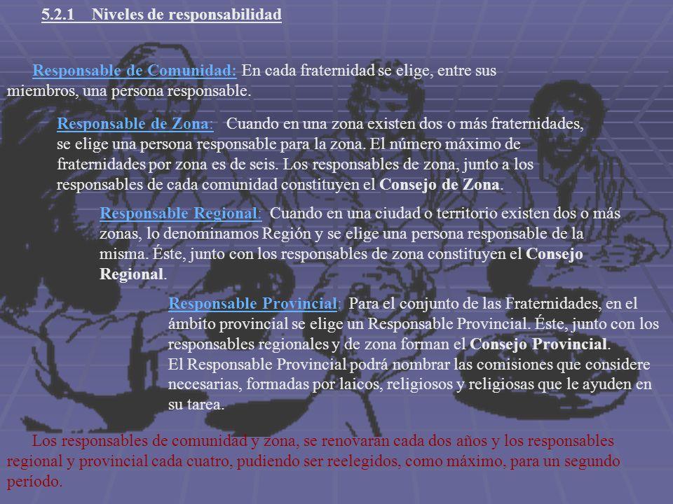 5.2.1 Niveles de responsabilidad Responsable de Comunidad: En cada fraternidad se elige, entre sus miembros, una persona responsable. Responsable de Z