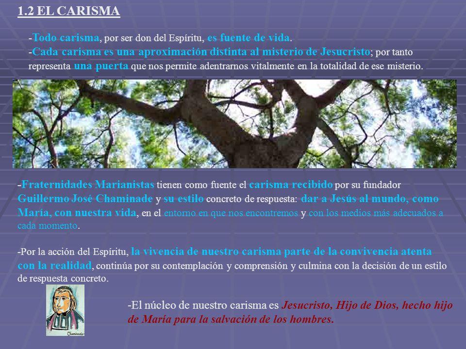 1.2 EL CARISMA - Todo carisma, por ser don del Espíritu, es fuente de vida. - Cada carisma es una aproximación distinta al misterio de Jesucristo ; po