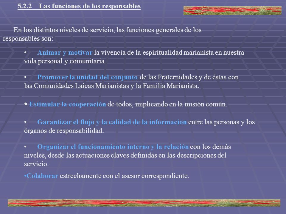 5.2.2 Las funciones de los responsables En los distintos niveles de servicio, las funciones generales de los responsables son: Animar y motivar la viv