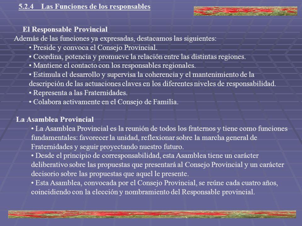 5.2.4 Las Funciones de los responsables El Responsable Provincial Además de las funciones ya expresadas, destacamos las siguientes: Preside y convoca