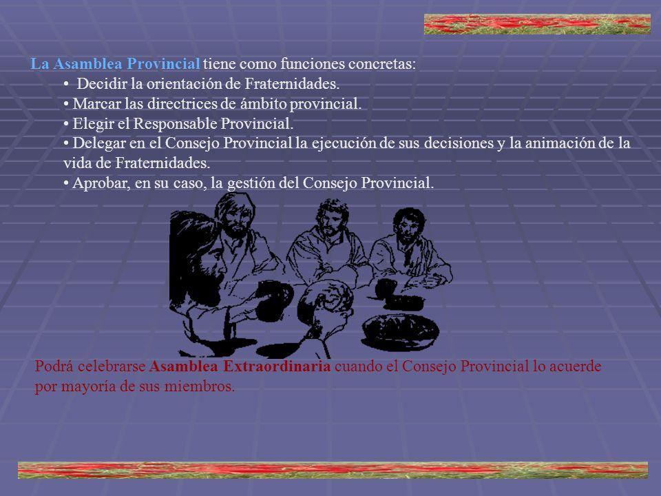 La Asamblea Provincial tiene como funciones concretas: Decidir la orientación de Fraternidades. Marcar las directrices de ámbito provincial. Elegir el