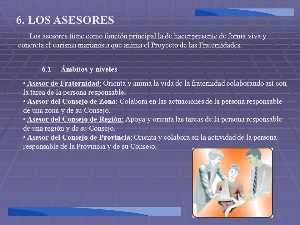 6. LOS ASESORES Los asesores tiene como función principal la de hacer presente de forma viva y concreta el carisma marianista que anima el Proyecto de