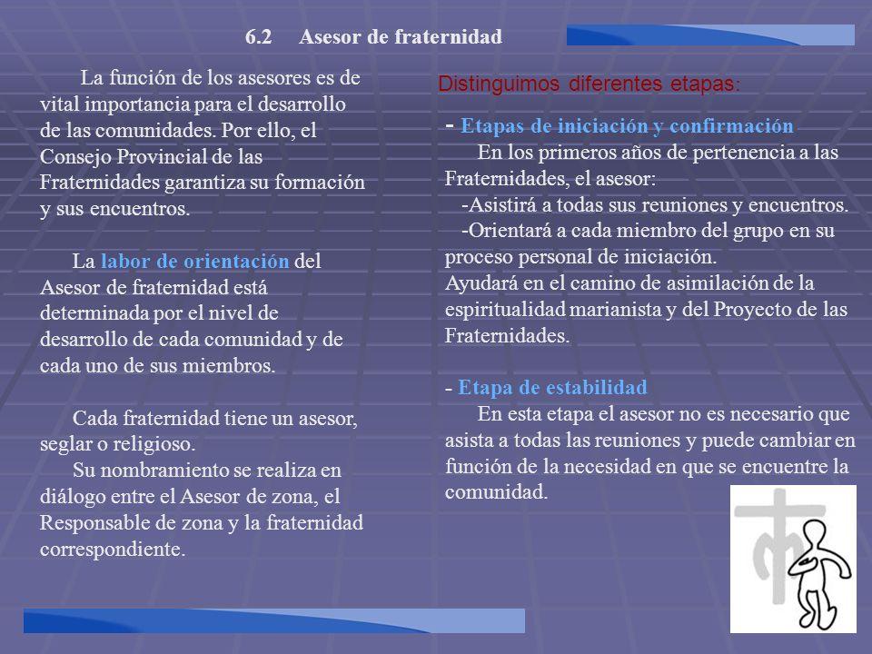 6.2 Asesor de fraternidad La función de los asesores es de vital importancia para el desarrollo de las comunidades. Por ello, el Consejo Provincial de