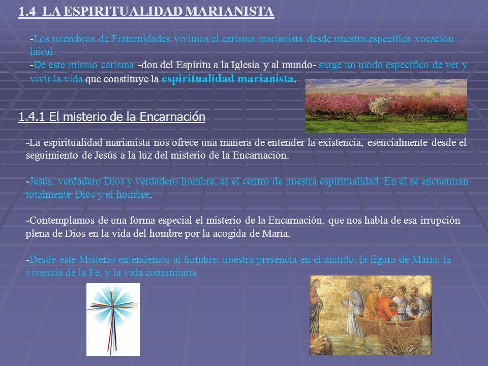 1.4 LA ESPIRITUALIDAD MARIANISTA -Los miembros de Fraternidades vivimos el carisma marianista desde nuestra específica vocación laical. -De este mismo