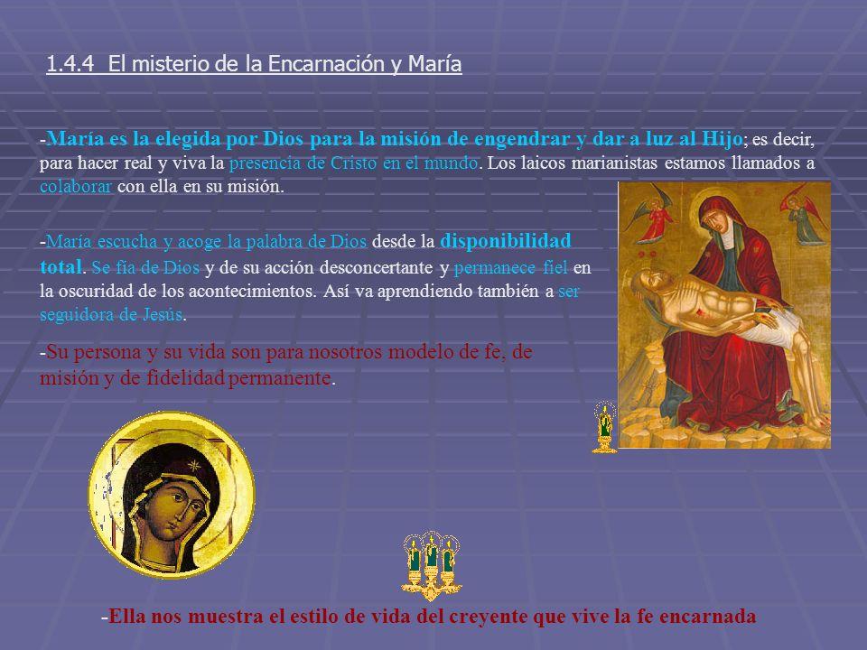 1.4.4 El misterio de la Encarnación y María - María es la elegida por Dios para la misión de engendrar y dar a luz al Hijo ; es decir, para hacer real