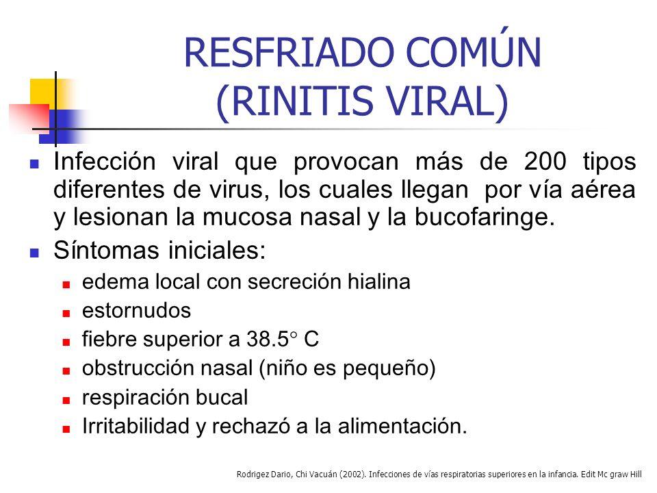 RESFRIADO COMÚN (RINITIS VIRAL) Infección viral que provocan más de 200 tipos diferentes de virus, los cuales llegan por vía aérea y lesionan la mucosa nasal y la bucofaringe.