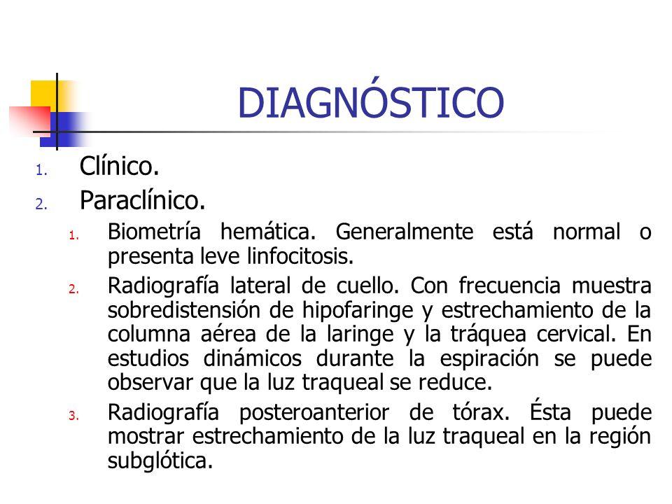 CUADRO CLÍNICO Forbes describe la progresión del cuadro clínico de la siguiente manera: Etapa 1: Fiebre, ronquera, tos crupal y estridor inspiratorio