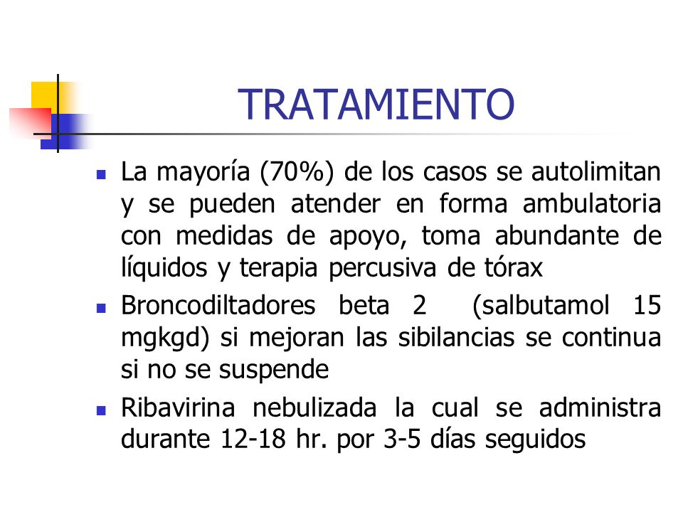 DIAGNÓSTICO Clínica Lactante con sibilancia y antecedente de cuadro respiratorio alto Rx. de tórax (aplanamiento de os diafrágmas, atelectasias, infil