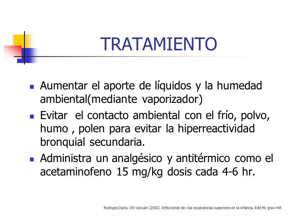 TRATAMIENTO El tratamiento se debe individualizar en cada caso de acuerdo con la intensidad de las manifestaciones de dificultad respiratoria.