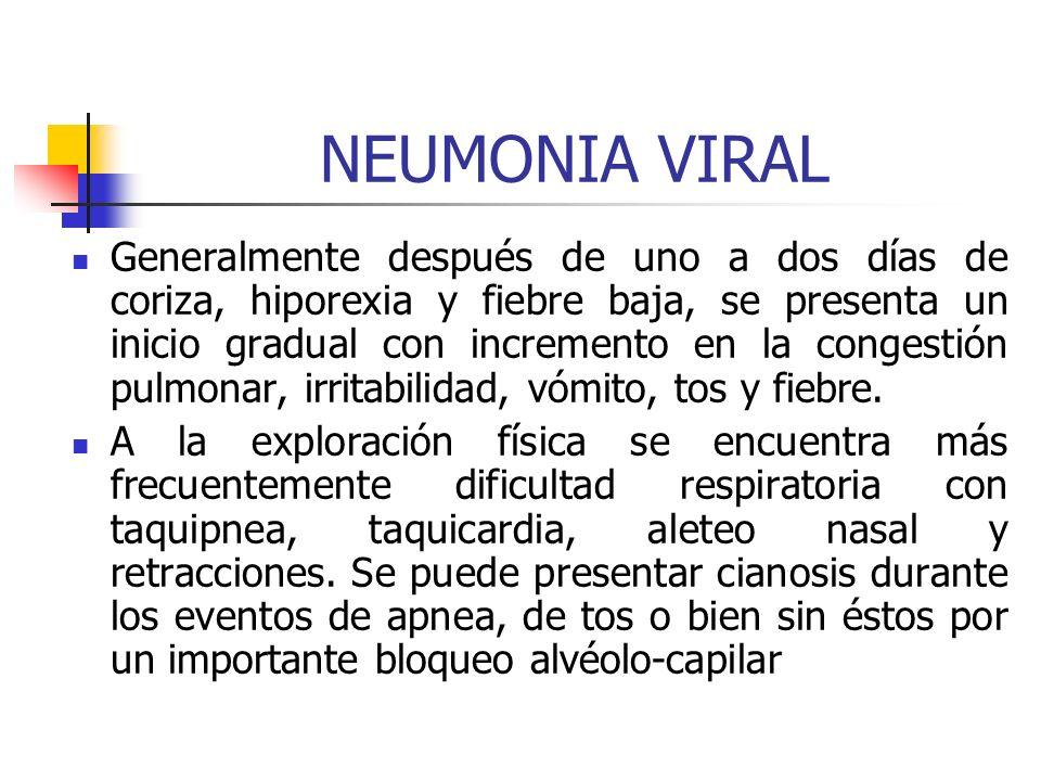 CUADRO CLÍNICO Signos de neumonía: estertores, disminución de las vibraciones vocales, hipoventilación, retracción intercostal. Signos sugestivos de l