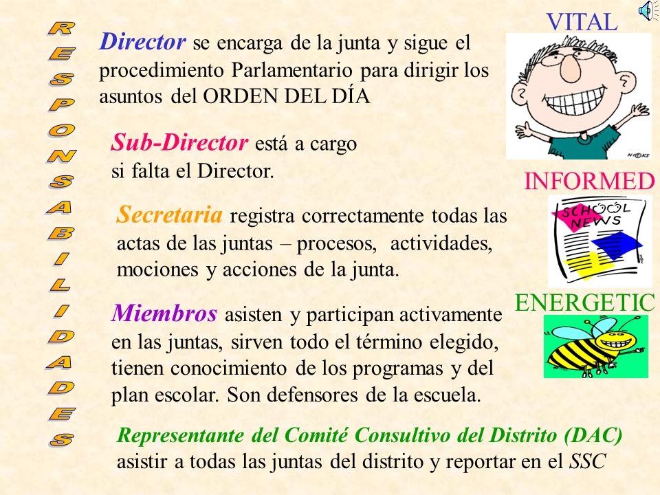 Director se encarga de la junta y sigue el procedimiento Parlamentario para dirigir los asuntos del ORDEN DEL DÍA VITAL INFORMED ENERGETIC Sub-Director está a cargo si falta el Director.