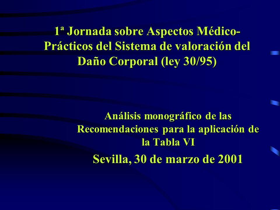 1ª Jornada sobre Aspectos Médico- Prácticos del Sistema de valoración del Daño Corporal (ley 30/95) Análisis monográfico de las Recomendaciones para l