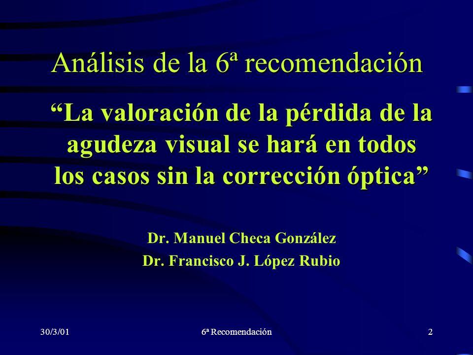 30/3/016ª Recomendación2 Análisis de la 6ª recomendación La valoración de la pérdida de la agudeza visual se hará en todos los casos sin la corrección