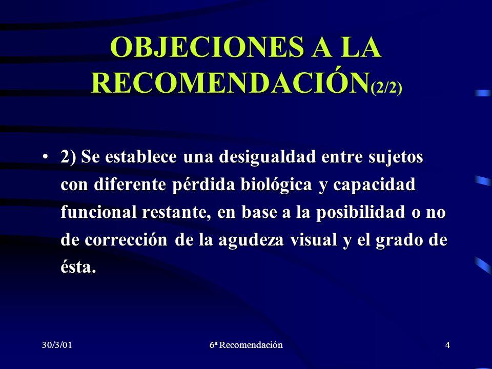 30/3/016ª Recomendación4 OBJECIONES A LA RECOMENDACIÓN OBJECIONES A LA RECOMENDACIÓN (2/2) 2) Se establece una desigualdad entre sujetos con diferente