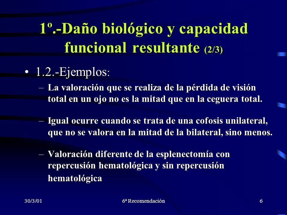 30/3/016ª Recomendación6 1º.-Daño biológico y capacidad funcional resultante (2/3) 1.2.-Ejemplos :1.2.-Ejemplos : –La valoración que se realiza de la