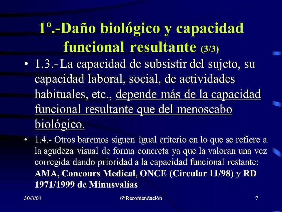 30/3/016ª Recomendación7 1º.-Daño biológico y capacidad funcional resultante (3/3) 1.3.- La capacidad de subsistir del sujeto, su capacidad laboral, s
