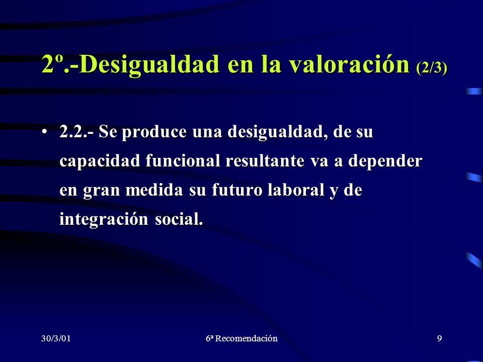 30/3/016ª Recomendación9 2º.-Desigualdad en la valoración (2/3) 2.2.- Se produce una desigualdad, de su capacidad funcional resultante va a depender e