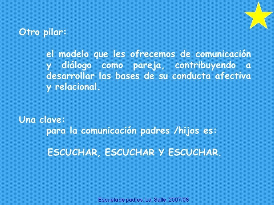 Otro pilar: el modelo que les ofrecemos de comunicación y diálogo como pareja, contribuyendo a desarrollar las bases de su conducta afectiva y relacio