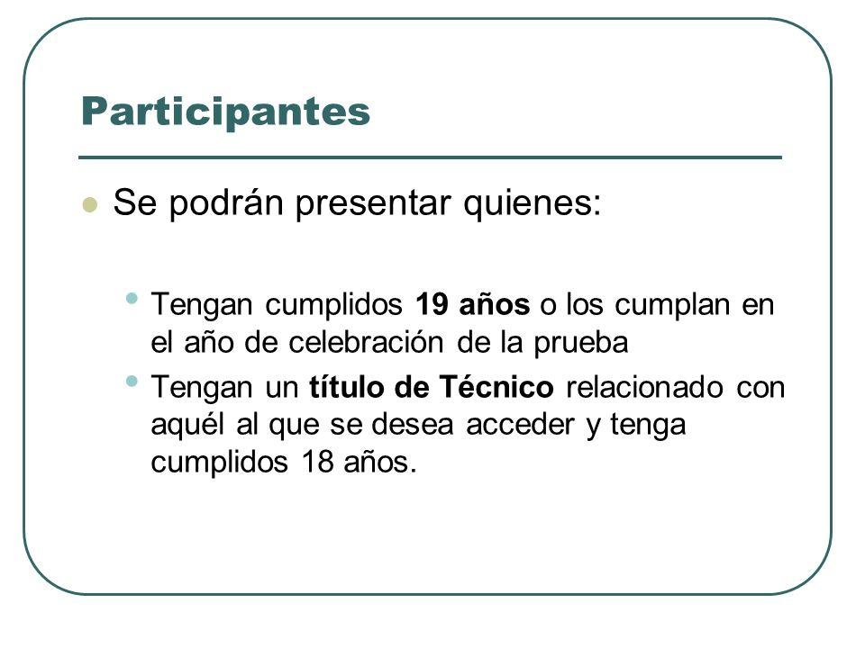 Participantes Se podrán presentar quienes: Tengan cumplidos 19 años o los cumplan en el año de celebración de la prueba Tengan un título de Técnico re