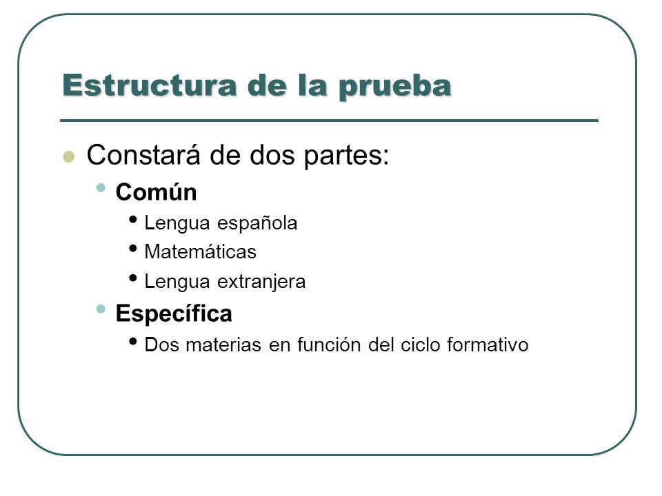 Estructura de la prueba Constará de dos partes: Común Lengua española Matemáticas Lengua extranjera Específica Dos materias en función del ciclo forma