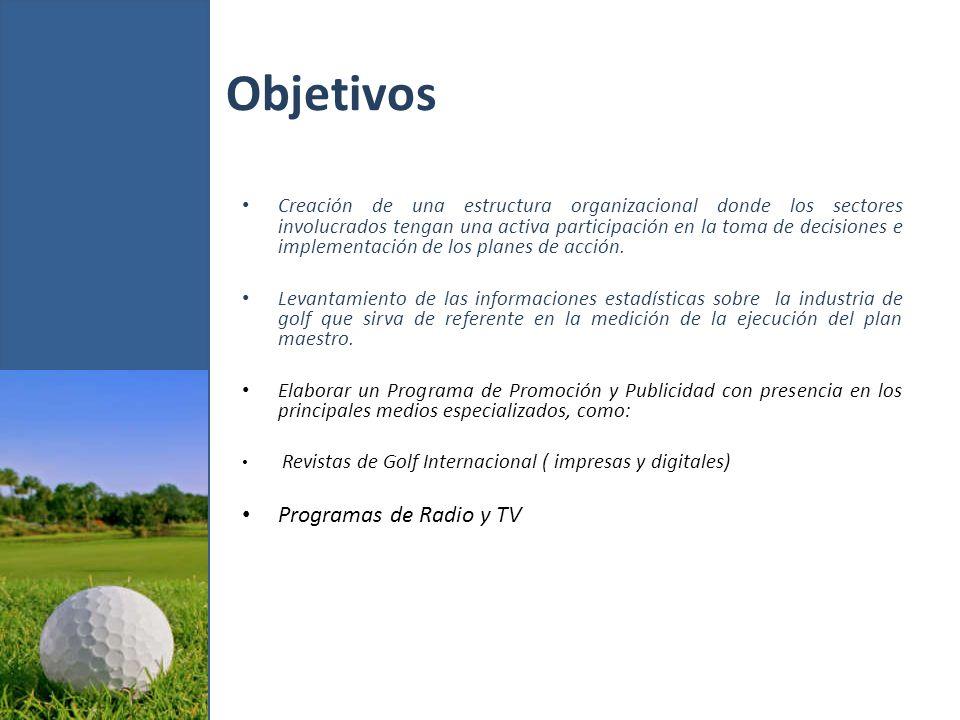 Objetivos Golf Channel & Golf Channel Latinoamérica Inserción del Producto Golf en el proyecto Marca País Creación de una Página Web especializada en Golf Participación en las Ferias Mundiales de Golf y Turismo, como: The PGA Merchandise Show (Orlando, Fl.