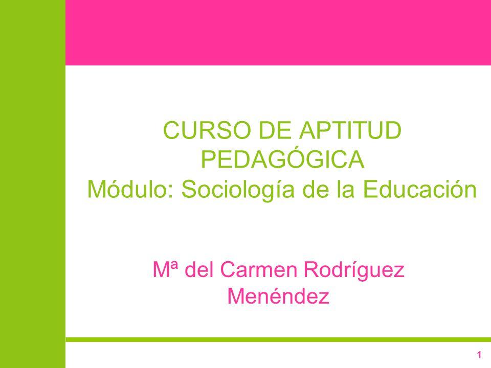 1 CURSO DE APTITUD PEDAGÓGICA Módulo: Sociología de la Educación Mª del Carmen Rodríguez Menéndez