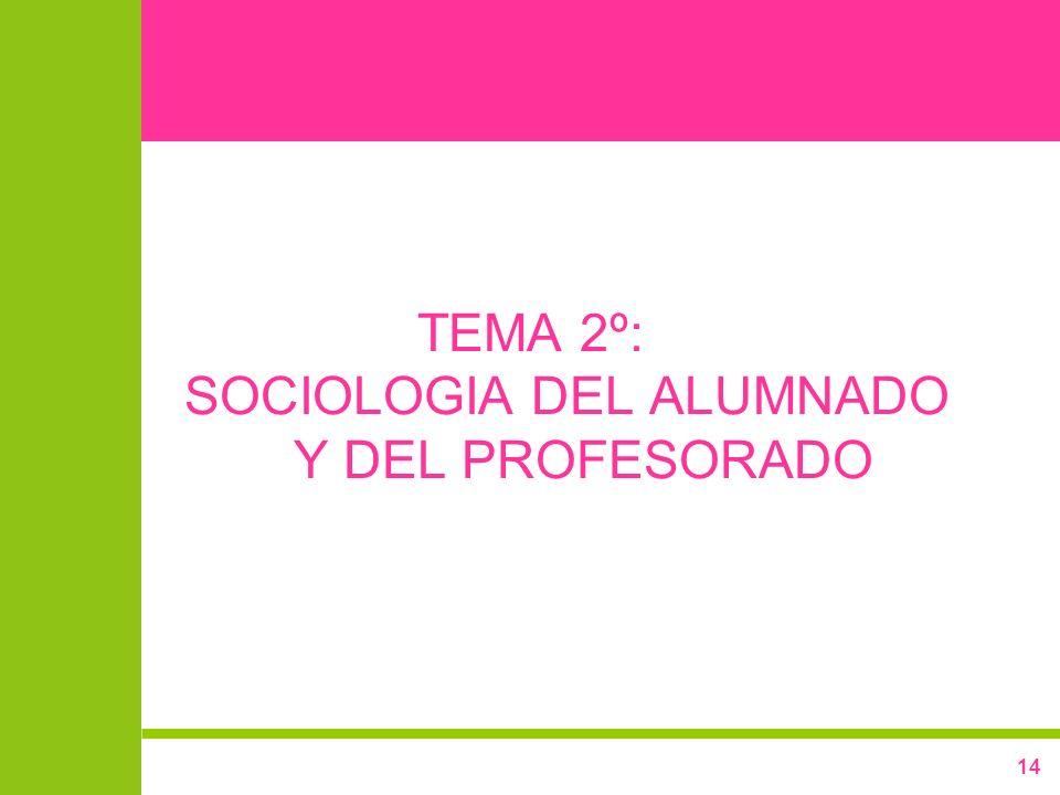 14 TEMA 2º: SOCIOLOGIA DEL ALUMNADO Y DEL PROFESORADO