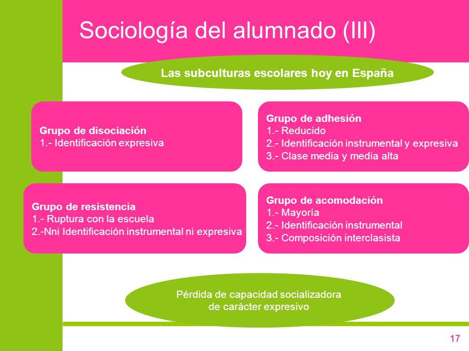 17 Sociología del alumnado (III) Las subculturas escolares hoy en España Grupo de adhesión 1.- Reducido 2.- Identificación instrumental y expresiva 3.