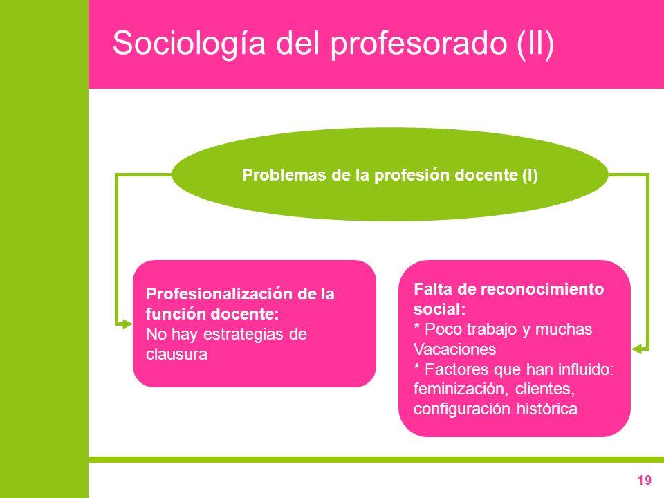 19 Sociología del profesorado (II) Profesionalización de la función docente: No hay estrategias de clausura Falta de reconocimiento social: * Poco tra