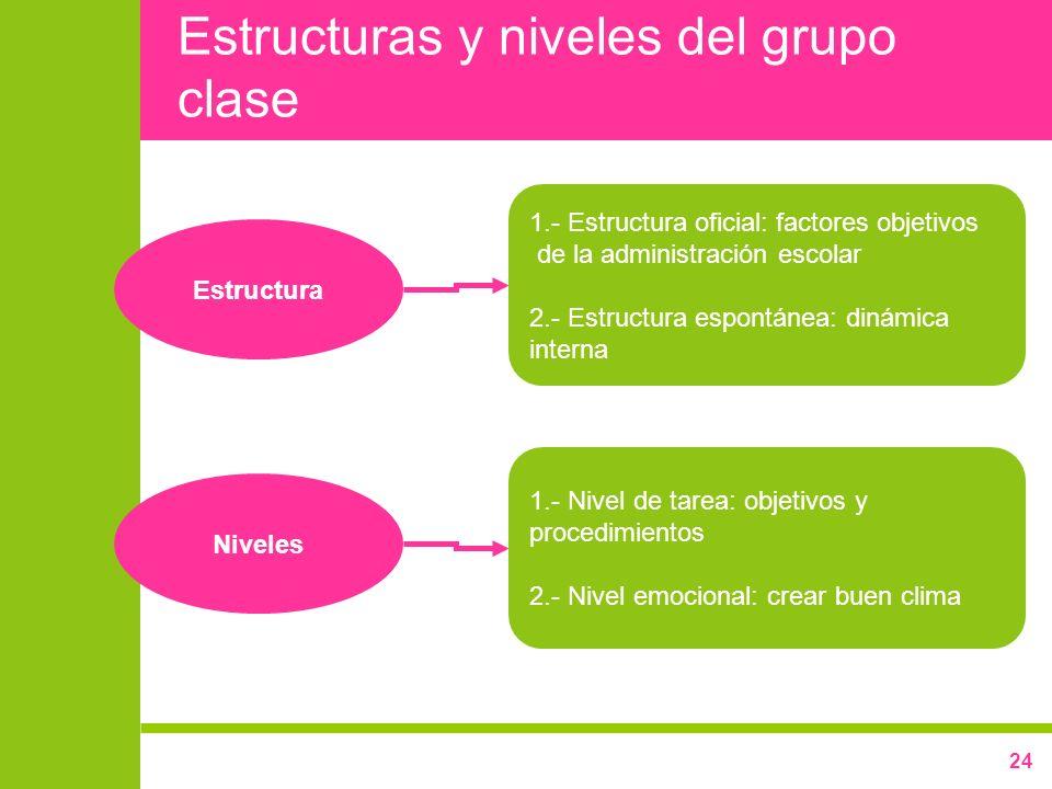 24 Estructuras y niveles del grupo clase 1.- Estructura oficial: factores objetivos de la administración escolar 2.- Estructura espontánea: dinámica i