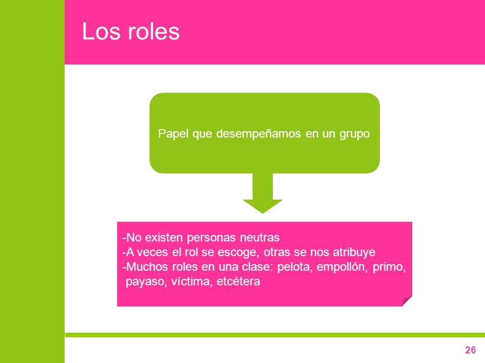 26 Los roles Papel que desempeñamos en un grupo -No existen personas neutras -A veces el rol se escoge, otras se nos atribuye -Muchos roles en una cla