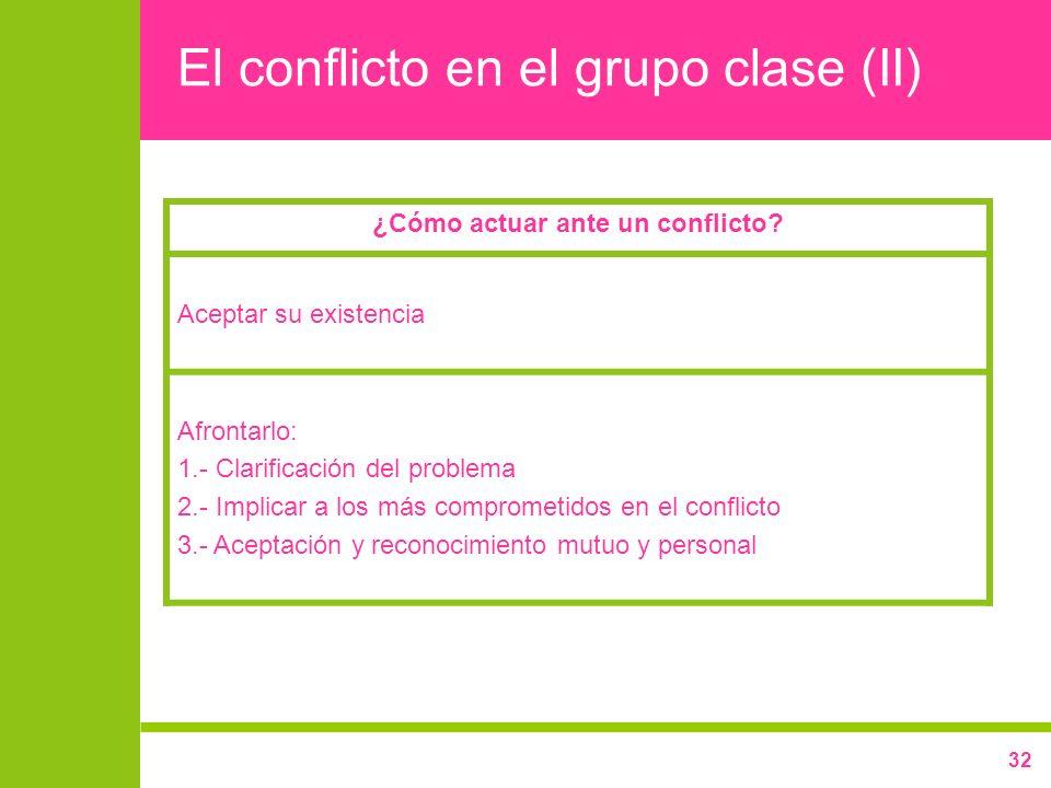 32 El conflicto en el grupo clase (II) ¿Cómo actuar ante un conflicto? Aceptar su existencia Afrontarlo: 1.- Clarificación del problema 2.- Implicar a