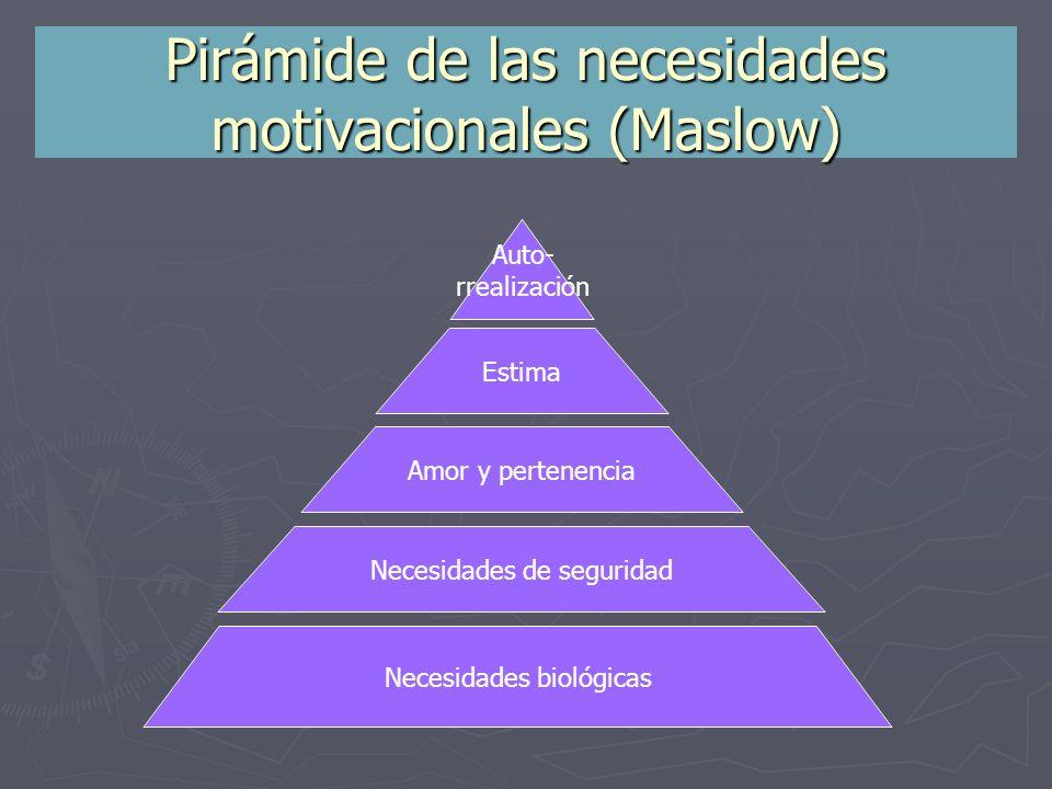 Pirámide de las necesidades motivacionales (Maslow) Auto- rrealización Estima Amor y pertenencia Necesidades de seguridad Necesidades biológicas